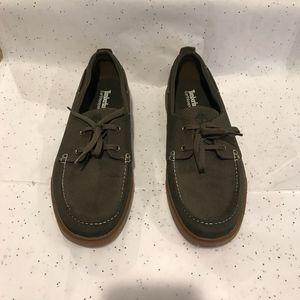 Timberland Mens Olive Green Boat Shoes Size 11.5